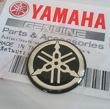YAMAHA 100% GENUINE 18mm TUNING FORK BLACK / SILVER DECAL EMBLEM STICKER BADGE