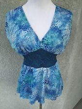 SWEET PEA Small Blouse Top Blue Sleeveless V-Neck