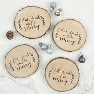 EAT DRINK AND BE MERRY SET OF 4 FESTIVE RUSTIC LOG COASTER GIFT SET NEW FREE P&P