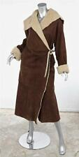 MAXFIELD PARRISH Brown Shearling Leather Long Waist Tie Coat Jacket sz. Medium