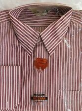 Nice Man red and white striped shirt Breast pocket Cufflink or button 15.5 NEW