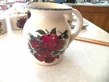 """New listing 1998 Home & Garden Party Stoneware Apple 1/2 Gallon Belly Pitcher -7.5"""" Hx 6""""W"""