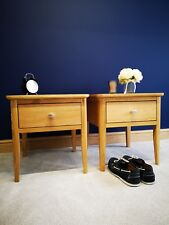 Matching Pair Copenhagen Oak Lamp Tables / 1 Drawer Side End Unit / Plant Stand