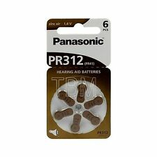 12 Panasonic PR312 Hearing Aid Zinc-Air Battery PR 41 6LB Batteries 1.4v