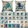 """Ocean Cotton Linen Sofa Cushion Covers Sea Life Home Decor Pillow Case 18""""x18"""""""