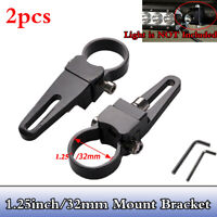 "2x 1.25"" 32mm Bullbar Mounting Brackets Clamp For Light Bar Mount Clamps Black"