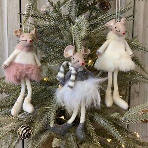 Felt Fur Hanging Mouse Christmas Tree Decoration Fluffy Mice Fun Children Scarf