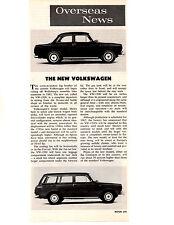 1961 VW / VOLKSWAGEN 1500   ~  ORIGINAL NEW CAR PREVIEW ARTICLE / AD