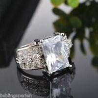 LP Silberfarbe Modeschmuck Herz Zirkonia Strass Verlobungsring Fingerring 18.1mm