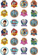 24 Paw Patrol Cupcake Fairy Cake Toppers Edible Rice Wafer card Decorations