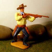 Timpo Toys Made in GT.Britain Steckfigur beweglich Cowboy petrolblaue Hosen