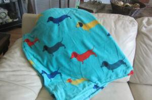 "Dachshund Soft Blue Fleece 50"" x 60"" Throw Blanket Wiener Dog NEW"
