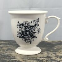 Anthropologie Monogram K Initial MISSUS Footed Pedestal Coffee Mug Flowers