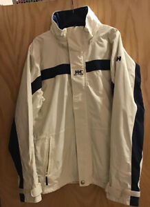 HELLY HANSEN HH HELLYTECH White/Navy Hooded Yachting Sailing Jacket L