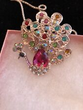 Betsey Johnson Necklace Peacock Gold Colorful Rainbow Crystals Gift Box
