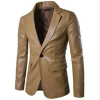 Chic Men Jacket One Button Slim Fit Long Sleeve Youth Spring Casual Blazer Coats