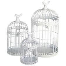 Deko Vogelkäfig 3 er Set - Metall Blumenkäfig weiß Pflanzkäfig Deko Käfig Antik