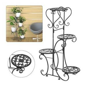 4 Tier Indoor Outdoor Plant Stand Flower Pot Display Shelf Metal Rack Home Décor