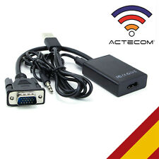 ACTECOM® Adaptador VGA macho a HDMI + Audio TV AV HDTV Conversor Adaptador