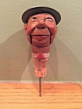 Antique Vintage Carved Wood Liquor Bottle Pour Spout Face Depose Bar Pourer