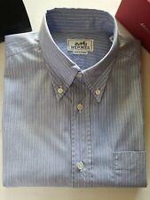 HERMES Men's SHIRT BLUE/WHITE STRIPE COTTON Palladium CLOU DE SELLE Buttons 15.5
