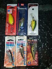 Lot Of 6 Brand New Crankbait Fishing Lures Rebel / Norman / Renegade