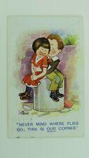 1920s Vintage Comic Dudley Buxton? Postcard Romance Sweethearts Kid's Fashion