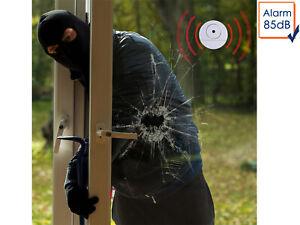 2x Alarmmelder für Türen oder Fenster, Glasbruchmelder Einruchschutz Alarm