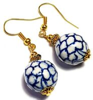 Short Gold Blue Earrings Pierced Vintage Antique Style Chinese Porcelain Beads