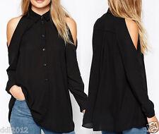 Women Chiffon Cold Off Shoulder Long Sleeve Turn Down Collar T Shirt Tops Blouse