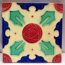 TILE MAJOLICA DK JAPAN VINTAGE GEOMETRIC DESIGN PORCELAIN ART NOUVEAU RARE # 265
