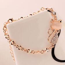 2017 Cute Cat Rose Gold Chain Charm Crystal Rhinestone Bangle Bracelet