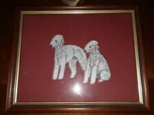 Bedlington Terrier dog embroidery picture framed artwork 9.25x11.25 inches