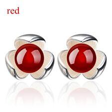 925 Sterling Silver Women Clover Freshwater Pearl Ear Stud New Fashion Earrings