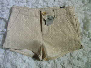 NWT $49.95 Abercrombie Kids Ivory with Metallic Threads Super Cute SHORTS Sz 12