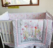 Baby Girls 7 Pieces Embroidered Birds Cotton Nursery Bedding Crib Cot Sets