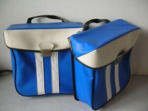 Ancienne paire de sacoche de vélo mobylette solex motobécane bleu et blanche