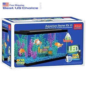 10-Gallon Aquarium Starter Kit Fish Tank LED Light Hood Filter Clear Gift NEW