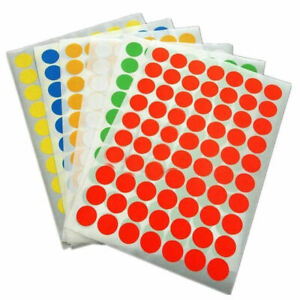 Coloured round  A4 Self Adhesive labels in red, blue, green or yellow 25 mm Dia