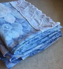 Croscill Wiltshire Blue Floral Twin Fitted Sheet & Pillow Case White Eyelet Cuff