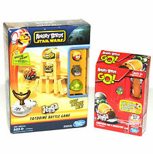 Lot of 2 Angry Birds Jenga Games STAR WARS Tatooine Battle Go Corp Pig Roadster
