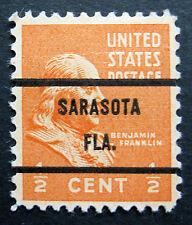 Sc # 803 ~ 1/2 cent Ben Franklin Issue, Precancel, SARASOTA FLA. L2