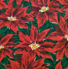 Poinsettia Christmas Lighweight Cotton Fabric 1.5 Yards Vintage