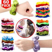 Elastic Hair Scrunchies 60 Velvet Hair Bands Soft Scrunchy Ties Ropes Ponytail