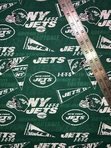 "NFL New York Jets Football Cotton Fabric 1/2 Yard (18 by 58"") New"