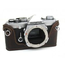 Leather Olympus OM1, 2, 3, 4 marrone scuro con cuciture Tan half case-Nuovo di Zecca