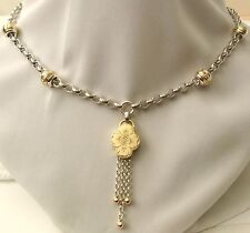 GENUINE SOLID 9ct YELLOW GOLD/925 STERLING SILVER ALBERTINA TASSEL NECKLACE