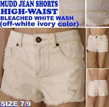 NWT$36 Mudd: ivory Wash OffWhite Denim HighWaist Distressed Jean Shorts Size 7/9