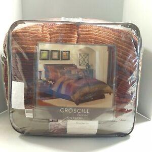 Croscill Home King Bed Set 4 piece Plateau Comforter/Shams/Bed Skirt