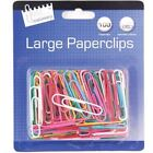 100 Jumbo Large Coloured Paper Clips Office School Home Stationery